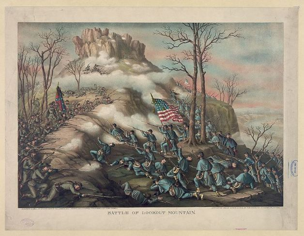 The Battle of Lookout Mountain, Kurz & Allison lithograph 1889 (Image via Wikipedia)