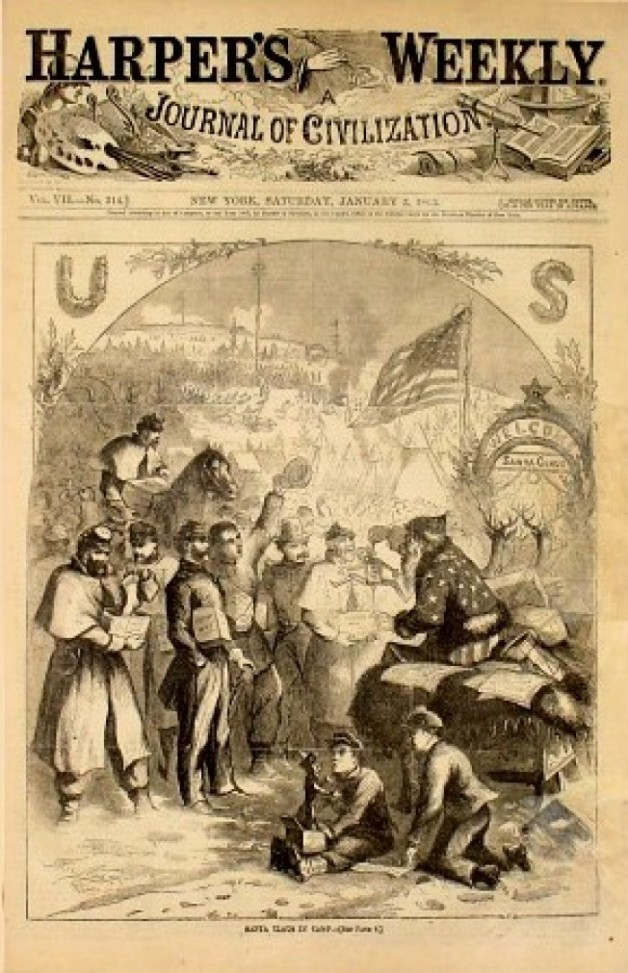 Santa distrubutes gifts to Union troops; 1863 cartoon for Harper's Weekly by Thomas Nast