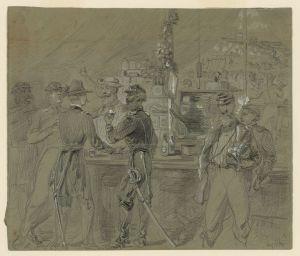 A Sutler's tent near H.Q., August 1862 (Arthur Lumley, Library of Congress)