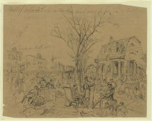 Halt of Wilcox's Troops in Caroline Street previous to going into Battle, 13th December 1862 (Arthur Lumley, Library of Congress)