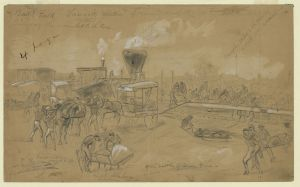 Bringing wounded soldiers to the cars after the Battle of Seven Pines, 3rd June 1862 (Arthur Lumley, Library of Congress)