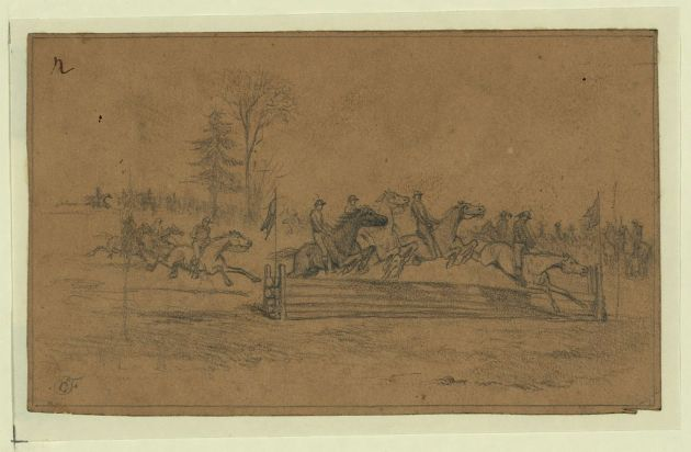 The Irish Brigade Hurdle Race on St. Patrick's Day 1863 as drawn by Edwin Forbes (Library of Congress)