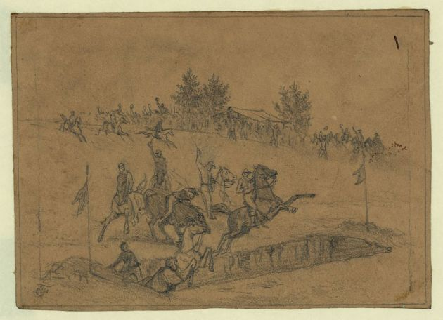 St. Patrick's Day in the Army- Jumping the Ditch by Ediwn Forbes (Library of Congress)