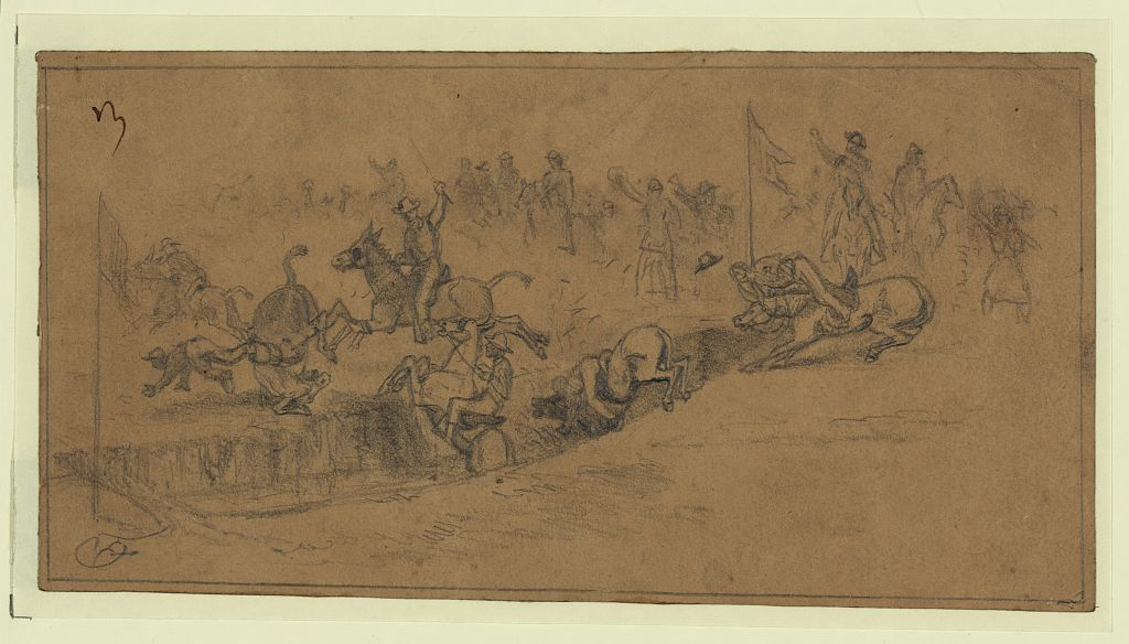 The Irish Brigade Mule Race on St. Patrick's Day 1863 as drawn by Edwin Forbes (Library of Congress)