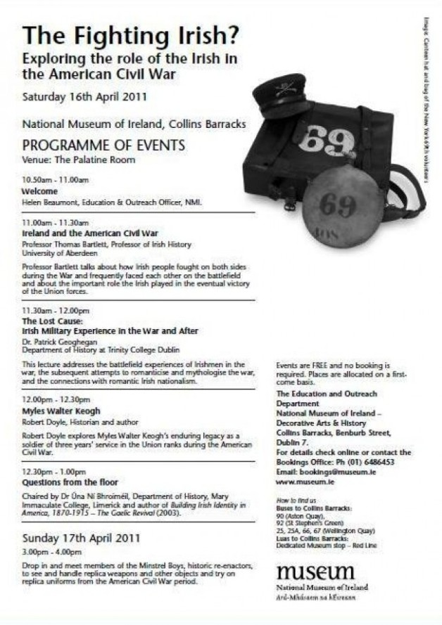 Programme for the National Museum of Ireland American Civil War Seminar