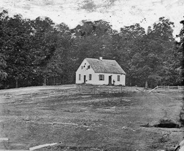 The Dunker Church on the Antietam Battlefield. The Cornfield is not far from this position (Library of Congress)