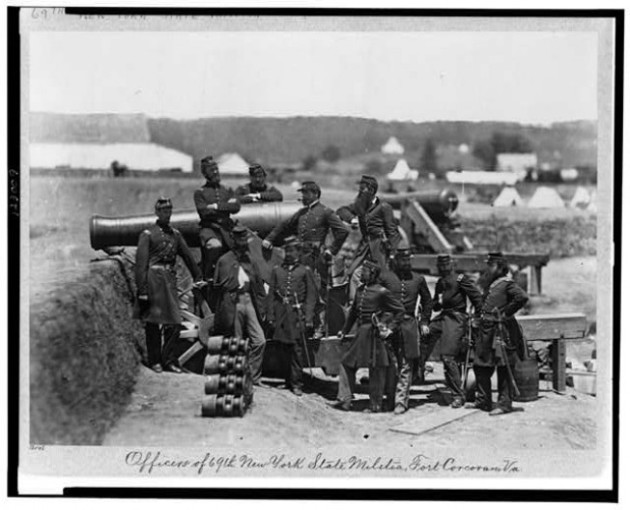 Officers of the 69th New York State Militia pose beside one of the guns in Fort Corcoran prior to the Battle of Bull Run (Library of Congress)