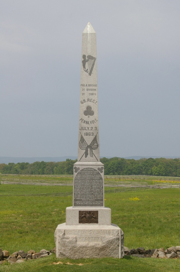 The 69th Pennsylvania Monument as it appears today (Photo by Jen Goellnitz www.goellnitz.org)