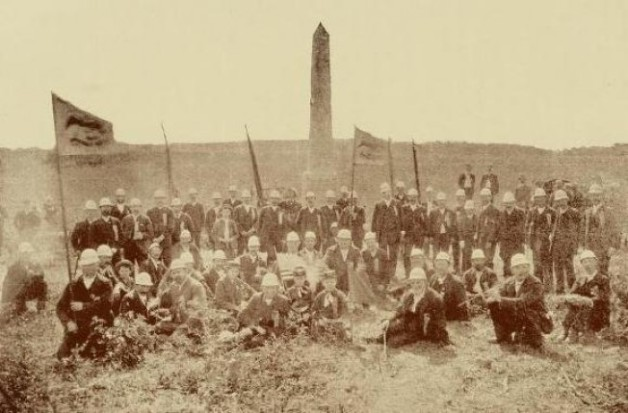 Survivors of the 69th Pennsylvania at their old position in Gettysburg in 1887