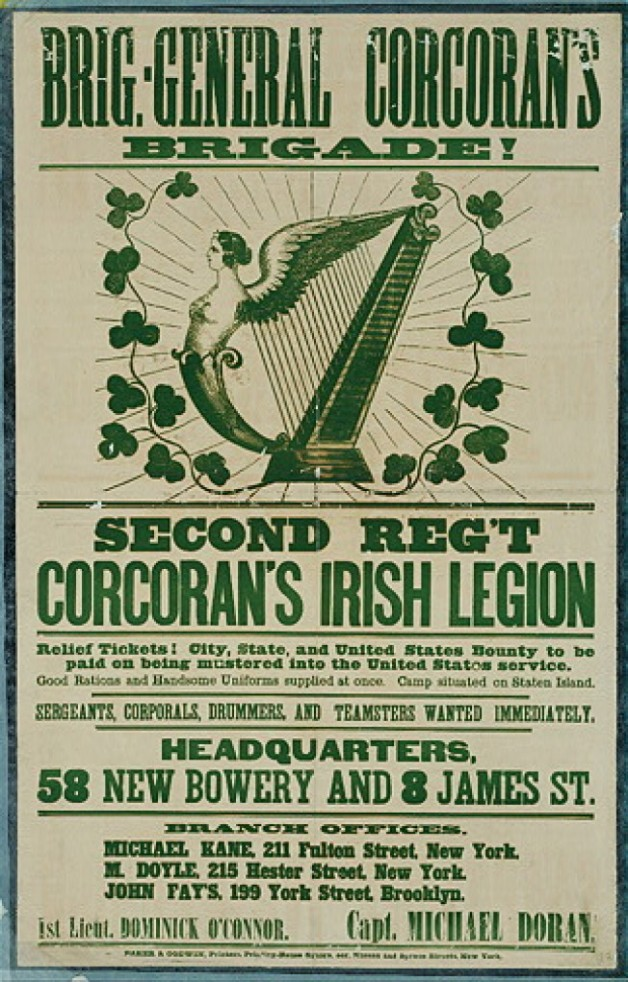 Recruitment Poster for Corcoran's Irish legion (Civil War Treasures from the New York Historical Society, via Library of Congress)