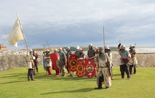 Some of the Pards Roman and Medieval colleagues combine to put on a multi-period demonstration for the public