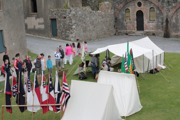 Pards encampment at Charles Fort, replete with information boards to inform the public about Irish involvement in the Civil War