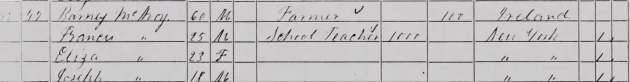 Barney McAvoy and his family as they appear in the 1860 Census for Olean, Cattaraugus County, New York (Image via Fold 3)