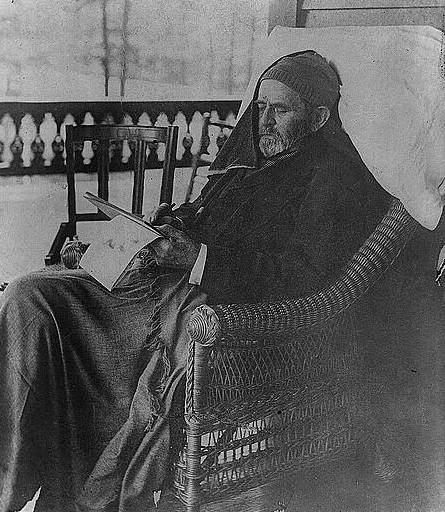 Grant at Mount McGregor working on his Memoirs. At this point he had a large tumor on the side of his neck (Library of Congress)