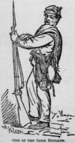 One of the Irish Brigade, replete with boxwood sprig (Klem, The National Tribune)