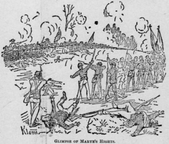 The Irish Brigade advance on Marye's Heights at Fredericksburg (Klem, The National Tribune)