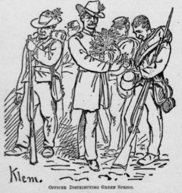 Officers distributing the green boxwood sprigs to the Irish Brigade at Fredericksburg (Klem, The National Tribune)