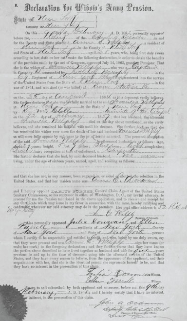 Declaration for Widow's Army Pension relating to Ann Welpley from February 1865 (Fold 3)