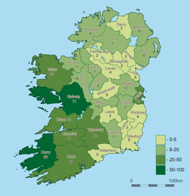 Map of Ireland showing nativity of members of the 23rd Illinois Infantry (Sara Nylund)