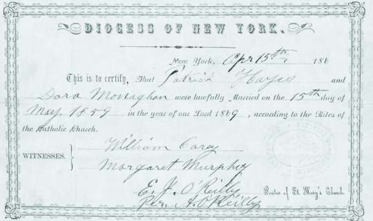 The 1859 Marriage Certificate of Patrick Hayes and Dorcas Monaghan