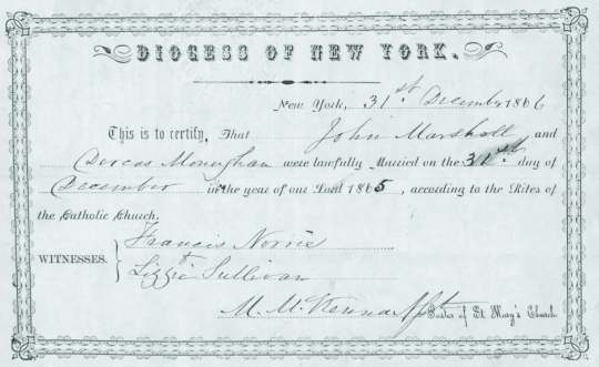 The Marriage Certificate of Dorcas Monaghan and John Marshall, 1865. The use of her maiden name, 'Monaghan' rather than her married name 'Hayes' would cause Dorcas difficulty in years to come.