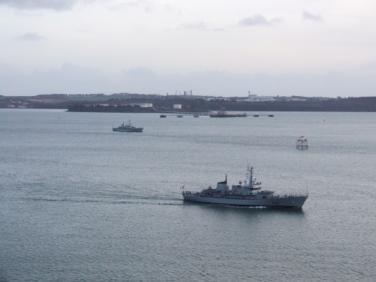 The modern day Spit Light at Queenstown (Cobh), Co. Cork as seen in 2012 where the USS Kearsarge anchored in 1863. The Irish Naval vessels LE Aoife (foreground) and LE Emer (bacground) highlight the continued military presence