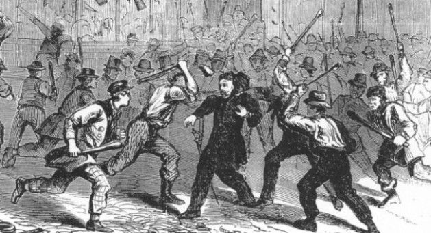 Colonel O'Brien being set upon (Leslie's Illustrated Newspaper)