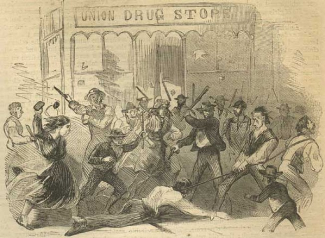 Colonel O'Brien attacked outside the Drugstore (Harper's Weekly)