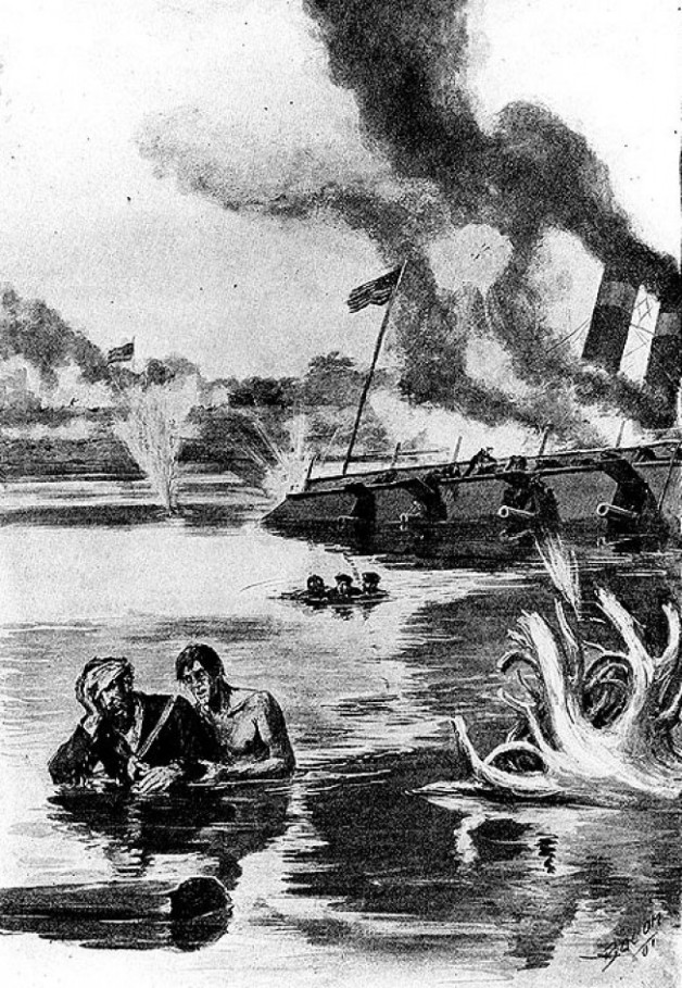 Portrayal of Corcoran and his comrades swimming back and forth to the Cincinnati saving as many men as possible (Deeds of Valor)
