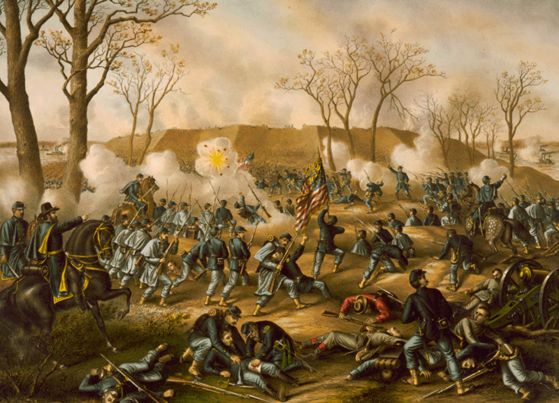 The Battle of Fort Donelson, 1862 (Kurz and Allison 1887)