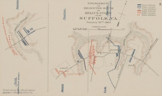 The Battle of Deserted House, Virginia, 1863 (War of the Rebellion Atlas- Baylor University Libraries Digital Collections)