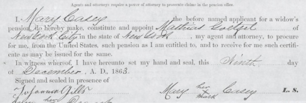 An extract for the document where Mary Casey (nee McCormick) grants power of attorney regarding her pension application. She has made her mark with an 'X' in the bottom right.