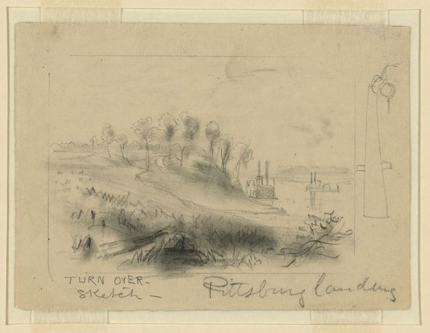 Pittsburg Landing as it looked in April 1862. Sketch by Alfred Waud. (Library of Congress)