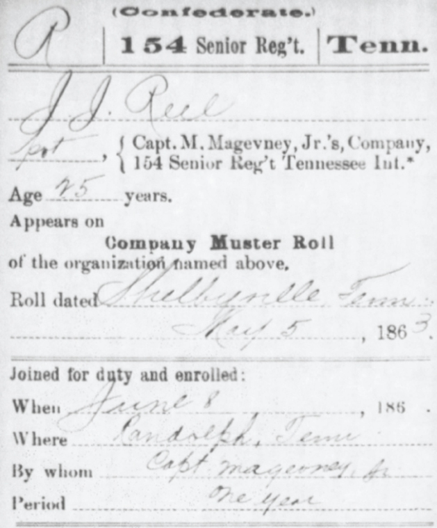 J.J. Reel (James Real) Company Muster Roll information (Image via Fold3).