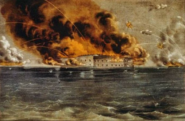The Bombardment of Fort Sumter on 12th April 1861 (Library of Congress)