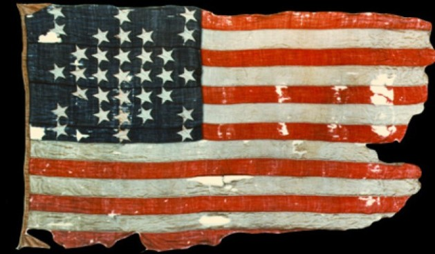 The United States flag that flew over Fort Sumter on 12th April 1861 (National Park Service)