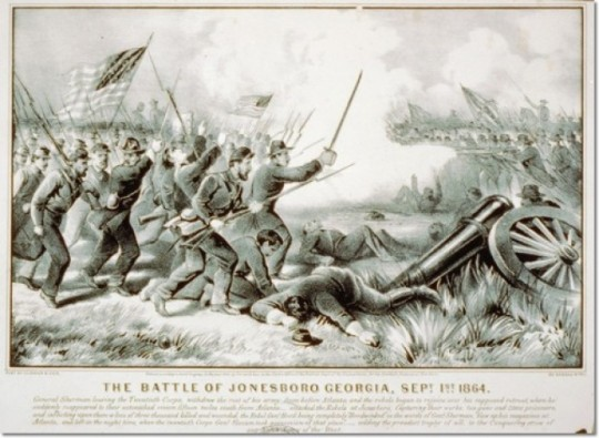 The Battle of Jonesboro, Georgia in 1864. (Currier & Ives)