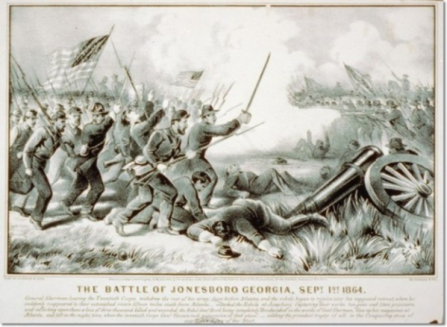 The Battle of Jonesboro, Georgia in 1864. (Currier & Ives)