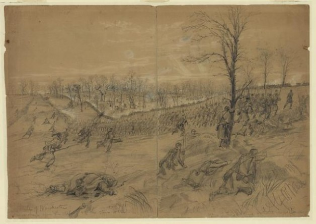The final Confederate retreat at the Battle of Kernstown by Alfred Waud (Library of Congress)