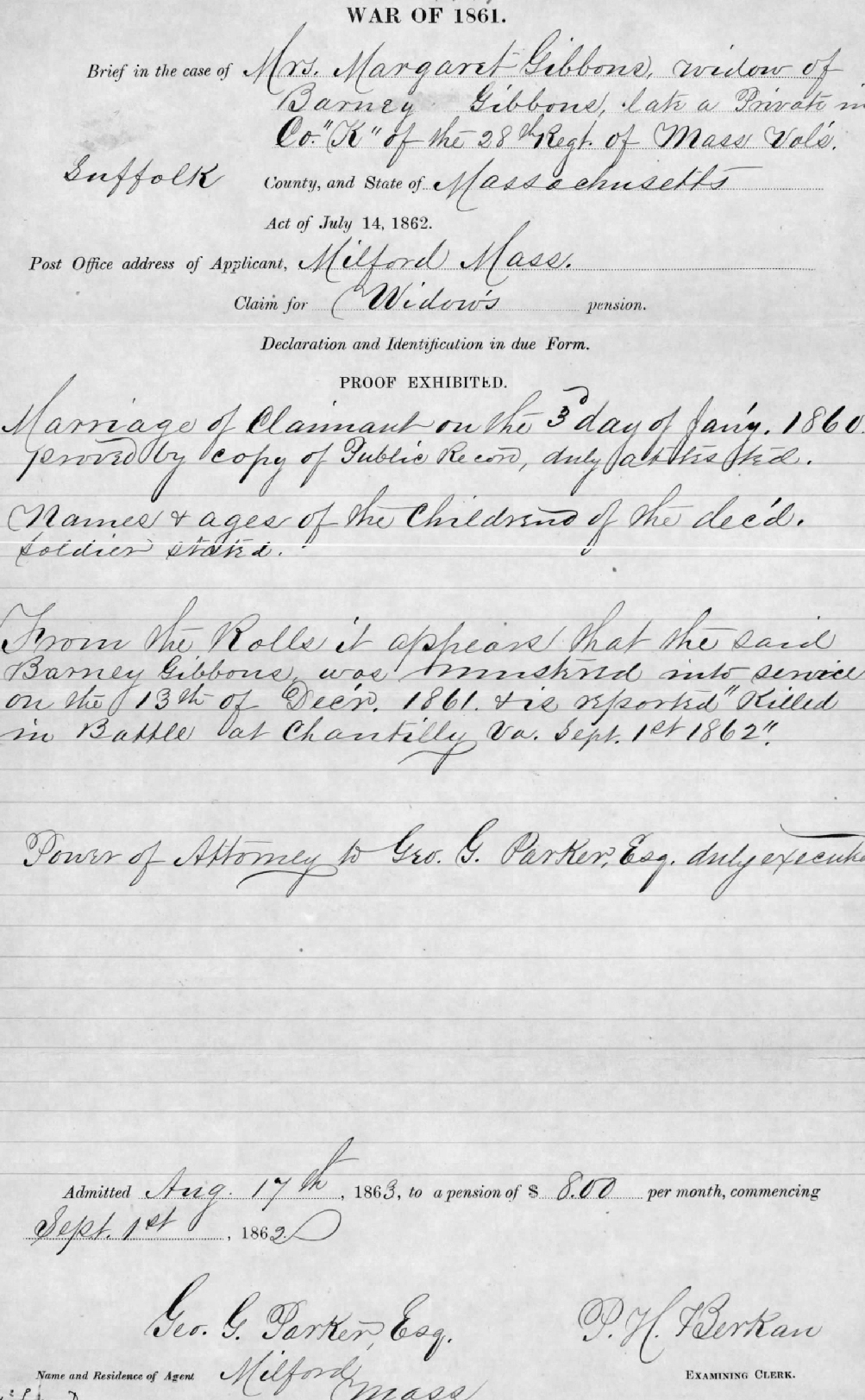 Pension application for the widow of Barney Gibbons of Company K. She would have received the news in September that her husband had been killed at the Battle of Chantilly.