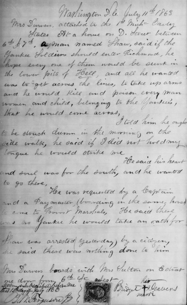 The report of Bridget Deavers (Diver) regarding Shaw's Souther Sympathies (Click to enlarge). Note her mark in the bottom right corner (Fold 3)