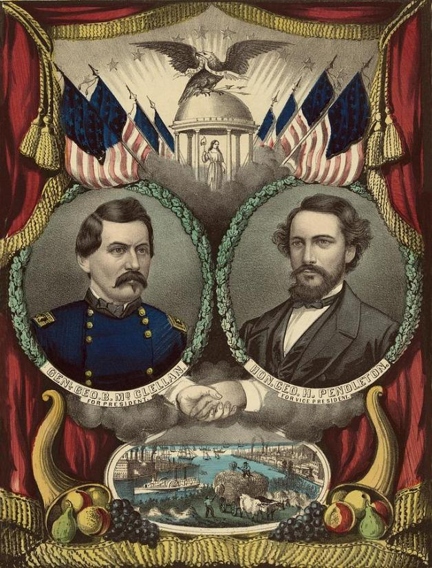 Democratic Party Poster for the 1864 election supporting McClellan and Pendleton (Image via Wikipedia)