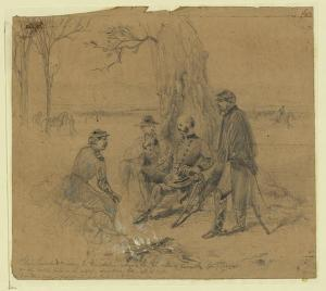 Burnside gives Franklin orders to evacuate the battlefield at Fredericksburg (Arthur Lumley/ Library of Congress)