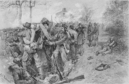 Cobb's and Kershaw's Troops Behind the Stone Wall at Fredericksburg, by Allen Christian Redwood c. 1894 (Library of Congress)
