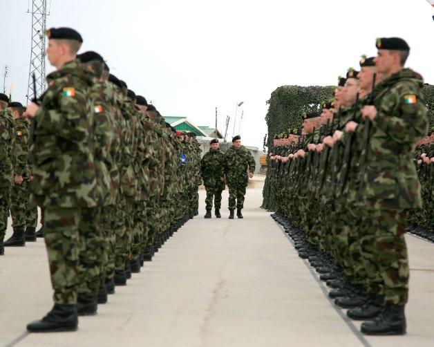 Irish troops on parade (KFOR - Photo by OR3 J Reilly, Irish Army)
