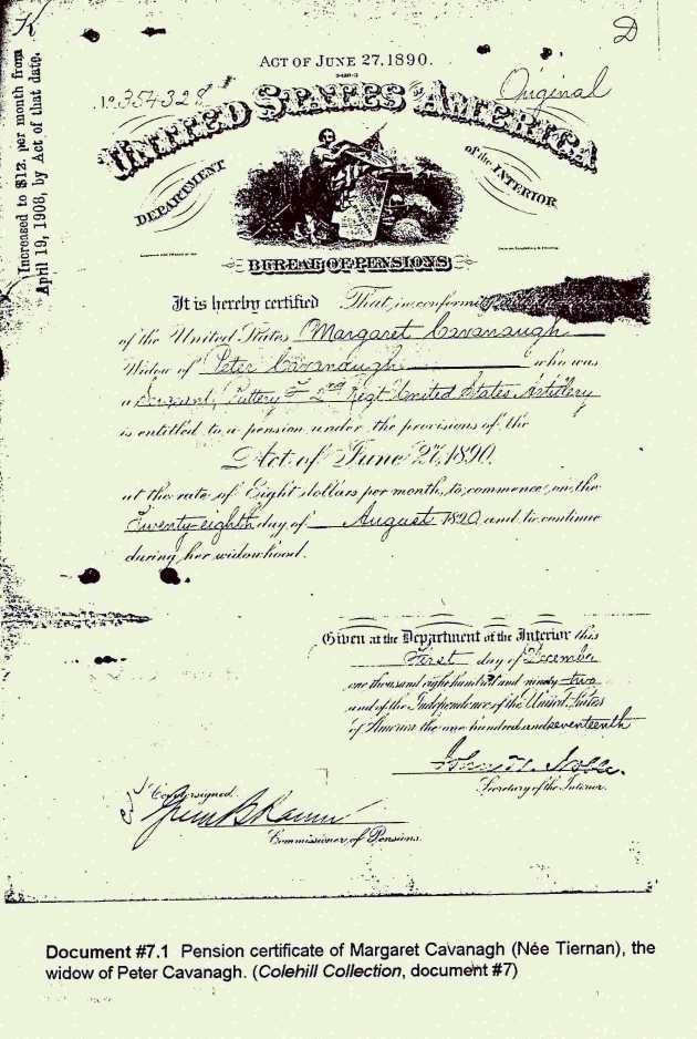 The Pension Certificate of Peter Cavanagh, claimed by his wife Mary until her death in 1930 (Michael MacNamara)