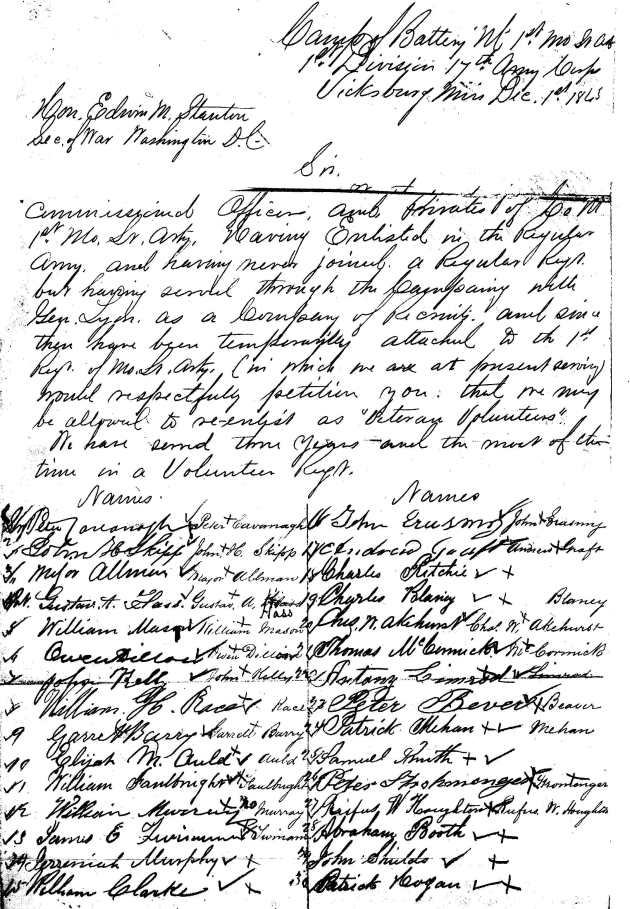 The petition signed by Peter and his comrades in 1864 requesting a return to the regular service (Michael MacNamara)
