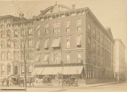 Delmonicos Restaurant to which the Irish Brigade and 69th NYSM officers retired after the Requiem Mass (New York  Public Library Digital Gallery Reference 0340-A1)