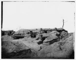 The interior of Fort Sedgwick, one of the principal Union forts at Petersburg (Library of Congress)
