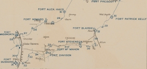 Sketch showing portions of the Union secondary line at Petersburg, including Fort McMahon and Fort Patrick Kelly (Official Records Atlas)